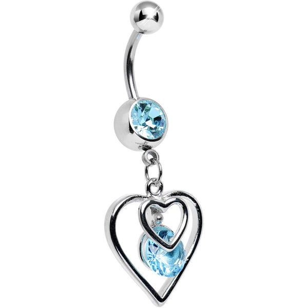 Aqua Gem Twice the Heart Dangle Belly Ring