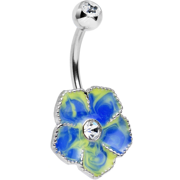Clear Gem Blue Yellow Swirled Daydream Flower Belly Ring