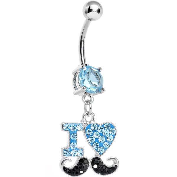 Aqua and Black Gem Paved I Heart Mustache Dangle Belly Ring