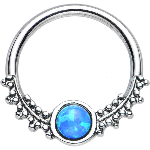 14 Gauge 1/2 Synthetic Blue Opal Drops of Dew Captive Ring