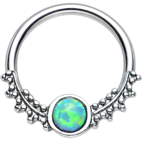 "14 Gauge 1/2"" Synthetic Light Green Opal Drops of Dew Captive Ring"