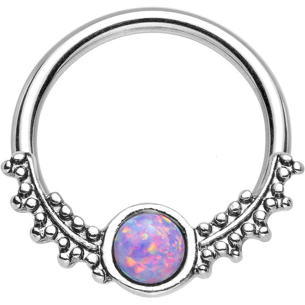 "14 Gauge 1/2"" Synthetic Light Purple Opal Drops of Dew Captive Ring"