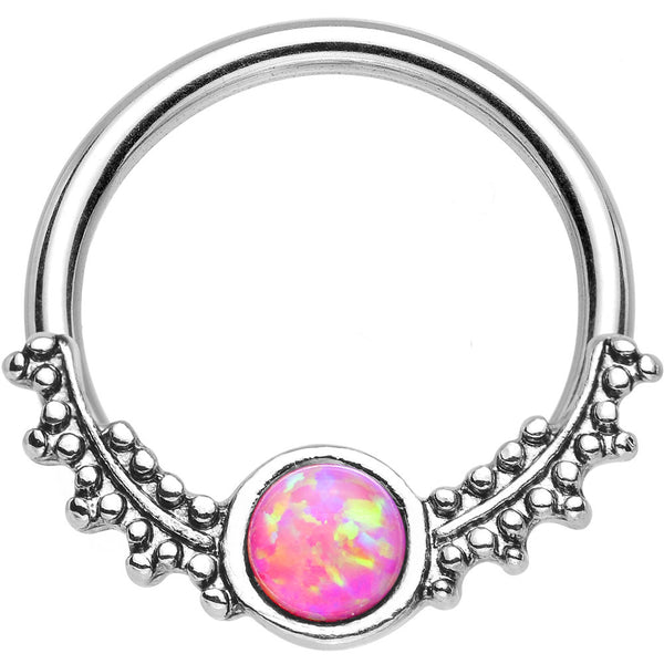 "14 Gauge 1/2"" Synthetic Pink Opal Drops of Dew Captive Ring"
