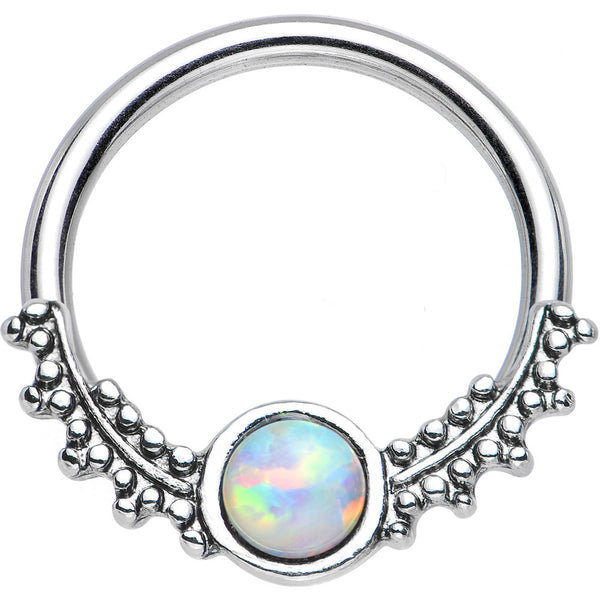 "14 Gauge 1/2"" Synthetic White Opal Drops of Dew Captive Ring"