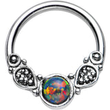 14 Gauge 1/2 Synthetic Black Opal Tribal Fantasy Captive Ring