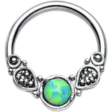 "14 Gauge 1/2"" Synthetic Light Green Opal Tribal Fantasy Captive Ring"