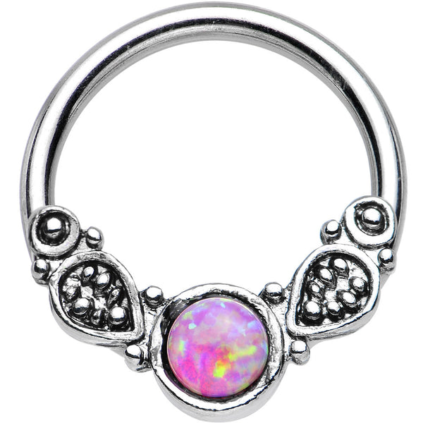 "14 Gauge 1/2"" Synthetic Pink Opal Tribal Fantasy Captive Ring"