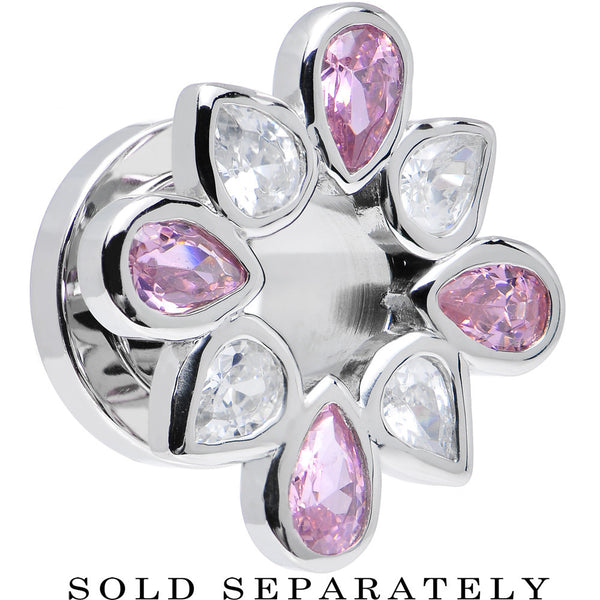 0 Gauge Stainless Steel Pink and Clear Gem Flower Wreath Tunnel
