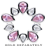 "9/16"" Stainless Steel Pink and Clear Gem Flower Wreath Tunnel"
