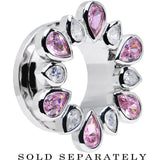 "5/8"" Stainless Steel Pink and Clear Gem Flower Wreath Tunnel"