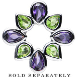 0 Gauge Stainless Steel Green and Purple Gem Flower Wreath Tunnel