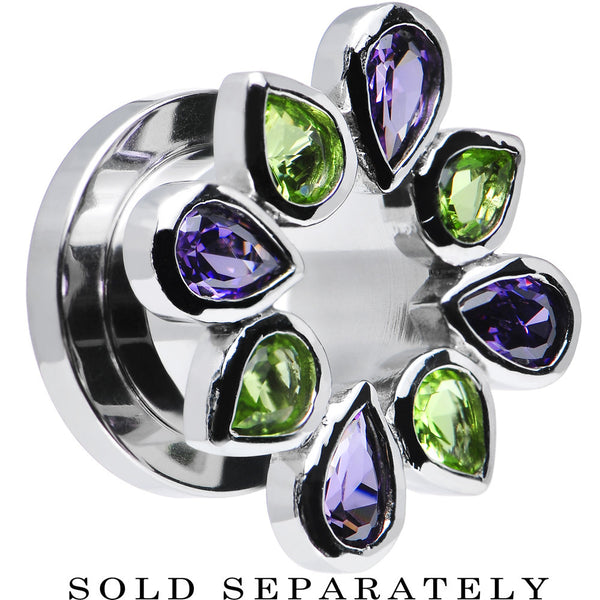 00 Gauge Stainless Steel Green and Purple Gem Flower Wreath Tunnel