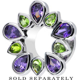 "1/2"" Stainless Steel Green and Purple Gem Flower Wreath Tunnel"