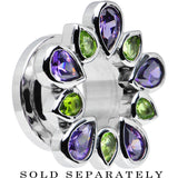 1/2 Stainless Steel Green and Purple Gem Flower Wreath Tunnel
