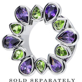 "5/8"" Stainless Steel Green and Purple Gem Flower Wreath Tunnel"