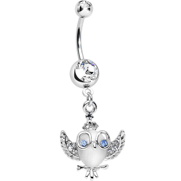 Clear Gem Nerdy Chic Faux Cats Eye Curious Owl Dangle Belly Ring