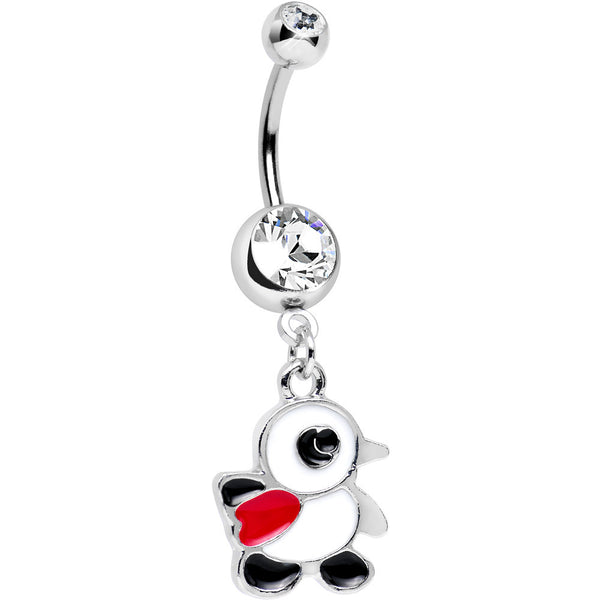 Clear Gem Red Scarf Happy Penguin Dangle Belly Ring