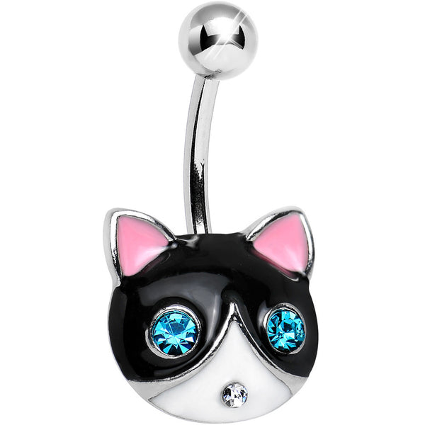 Aqua Gem Bright Eyes Tuxedo Cat Belly Ring