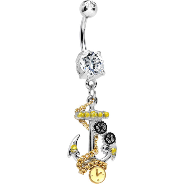 Clear Gem Two Tone Past Midnight Timepiece Anchor Dangle Belly Ring