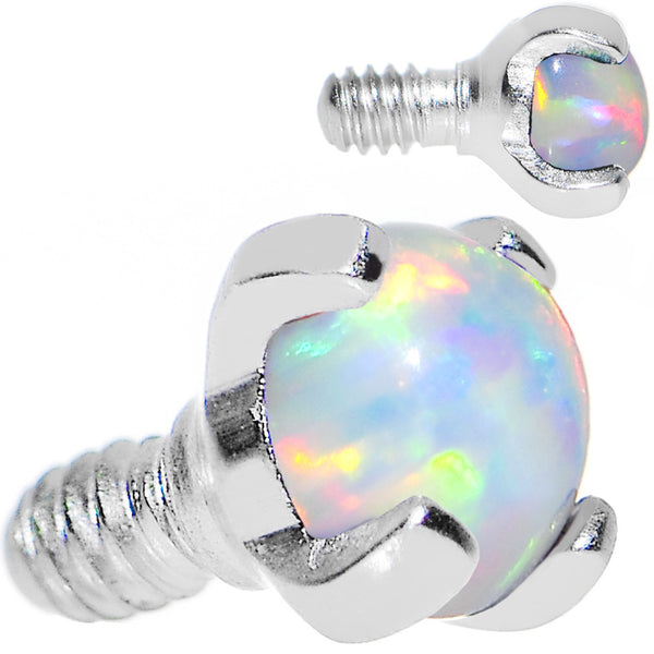 14 Gauge 3mm Faux White Prong Set Opal Titanium Dermal Top