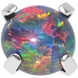 14 Gauge 4mm Faux Black Prong Set Opal Titanium Dermal Top