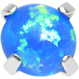 14 Gauge 4mm Faux Blue Prong Set Opal Titanium Dermal Top