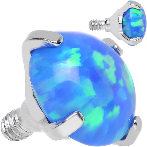 14 Gauge 5mm Faux Blue Prong Set Opal Titanium Dermal Top