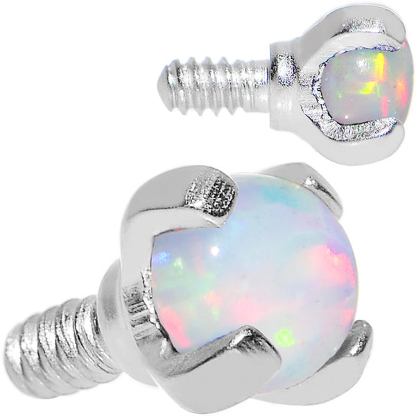 16 Gauge 2.5mm Faux White Prong Set Opal Titanium Dermal Top