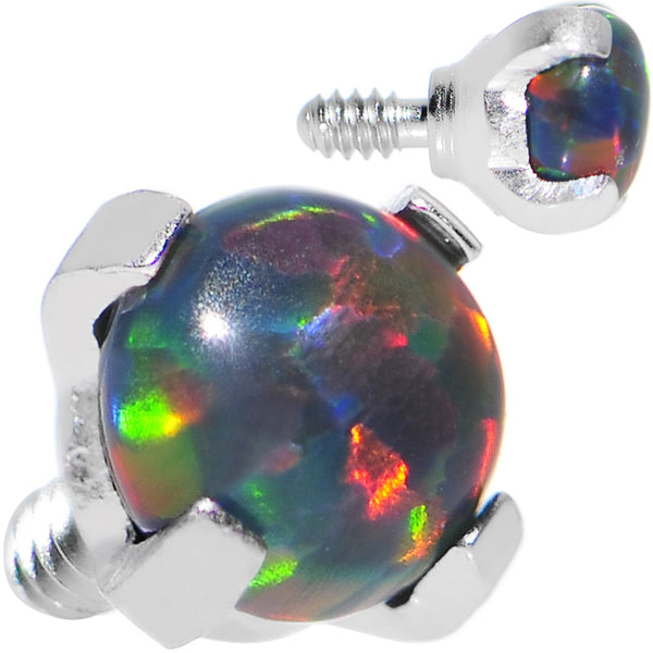 16 Gauge 3mm Faux Black Prong Set Opal Titanium Dermal Top