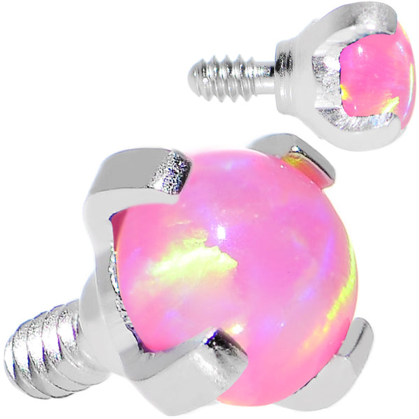 16 Gauge 3mm Faux Pink Prong Set Opal Titanium Dermal Top