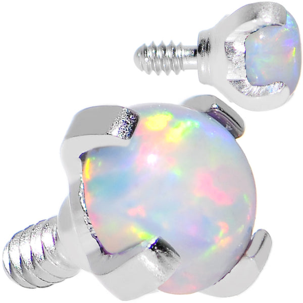 16 Gauge 3mm Faux White Prong Set Opal Titanium Dermal Top