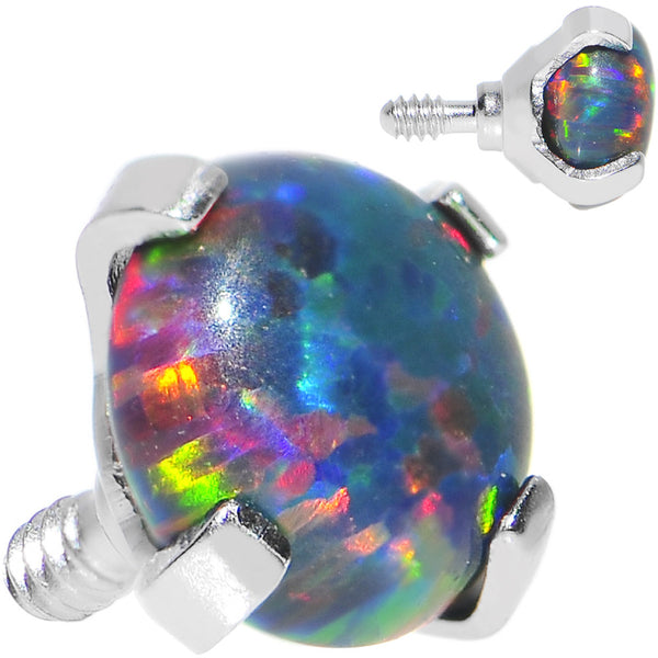 16 Gauge 4mm Faux Black Prong Set Opal Titanium Dermal Top