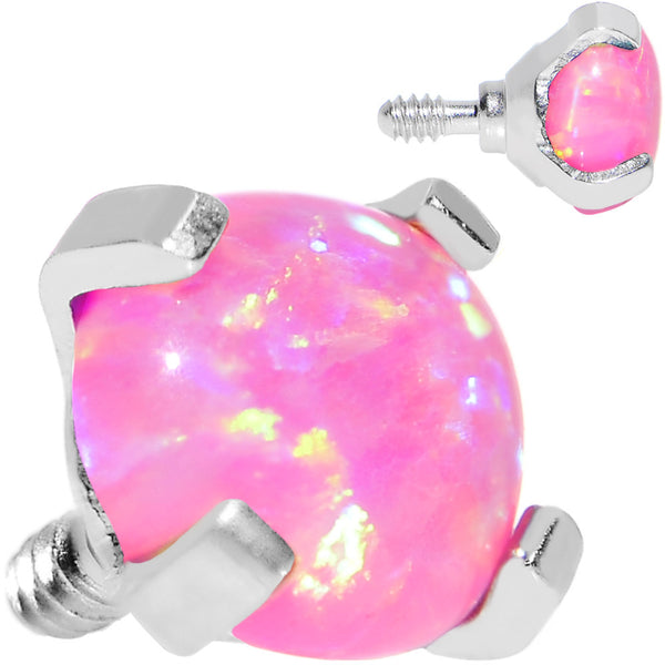 16 Gauge 4mm Faux Pink Prong Set Opal Titanium Dermal Top