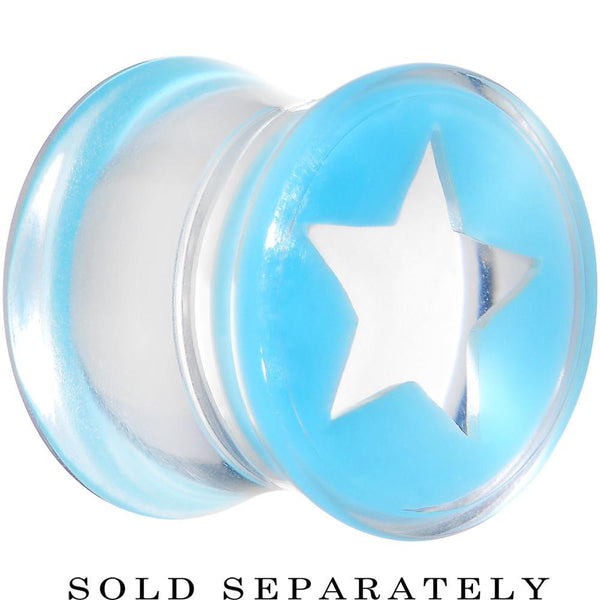 Clear Light Blue Acrylic Wish on a Star Saddle Plug 2 Gauge to 20mm