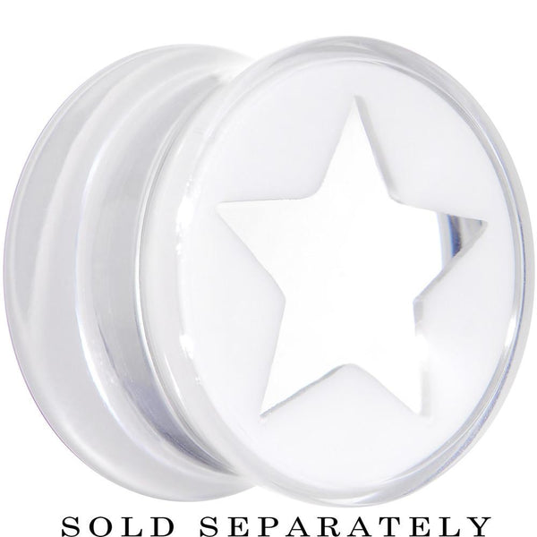 Clear White Acrylic Wish on a Star Saddle Plug 2 Gauge to 20mm