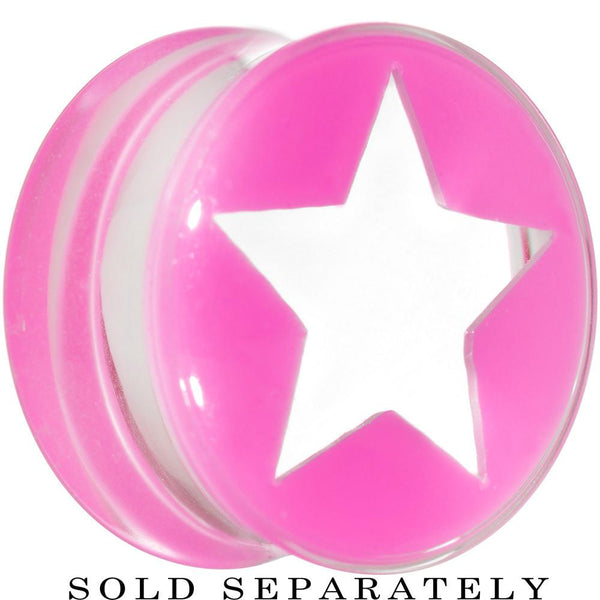 Clear Pink Acrylic Wish on a Star Saddle Plug 2 Gauge to 20mm