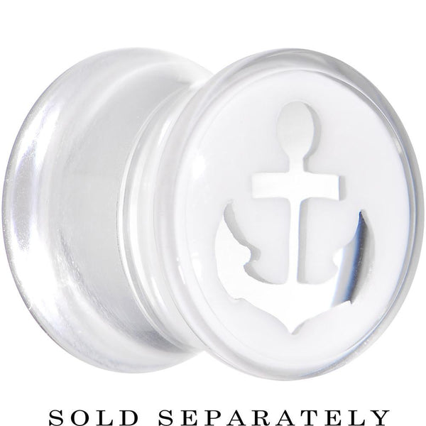 00 Gauge Clear White Acrylic Set Sail Nautical Anchor Saddle Plug