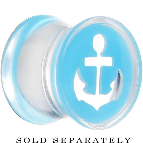 00 Gauge Clear Light Blue Acrylic Set Sail Nautical Anchor Saddle Plug