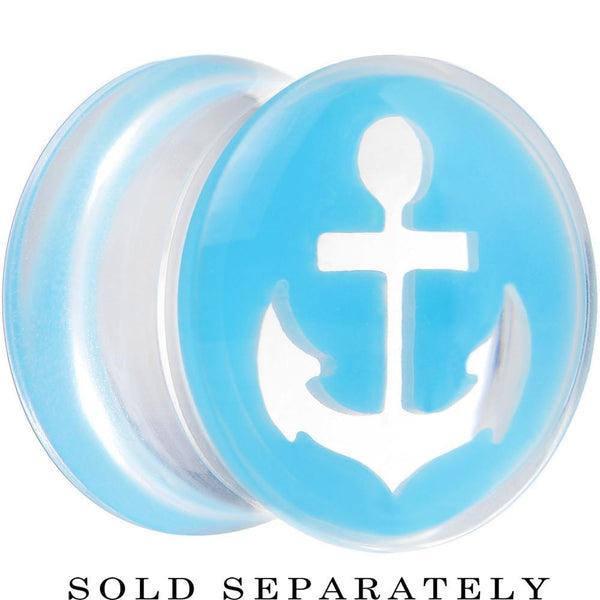 Clear Light Blue Acrylic Set Sail Nautical Anchor Saddle Plug Available in Sizes 6mm to 20mm