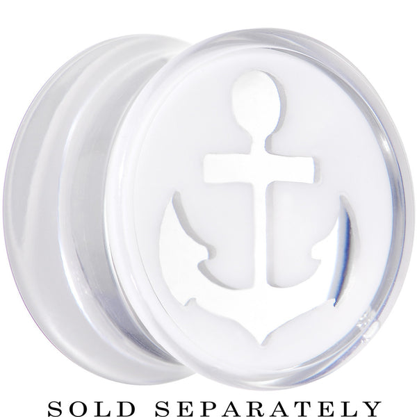 "9/16"" Clear White Acrylic Set Sail Nautical Anchor Saddle Plug"