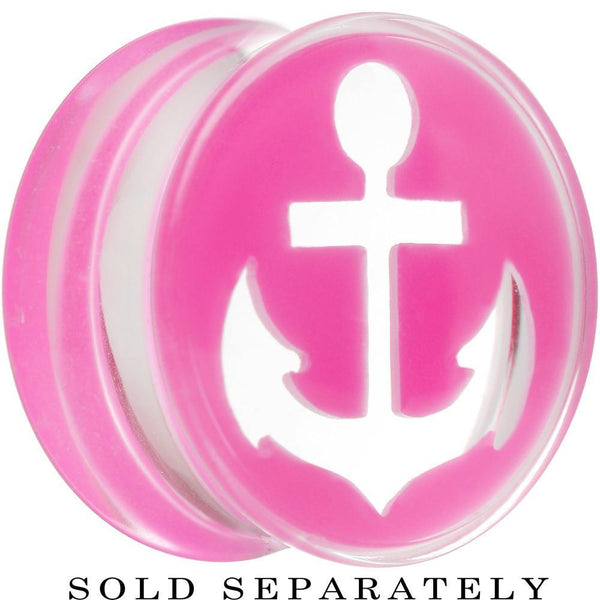Clear Pink Acrylic Set Sail Nautical Anchor Saddle Plug Available in Sizes 6mm to 20mm