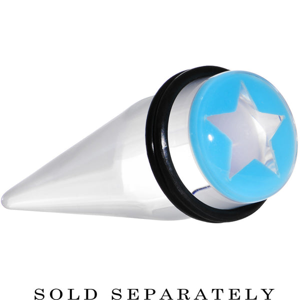 "5/8"" Clear Light Blue Acrylic Wish on a Star Taper"