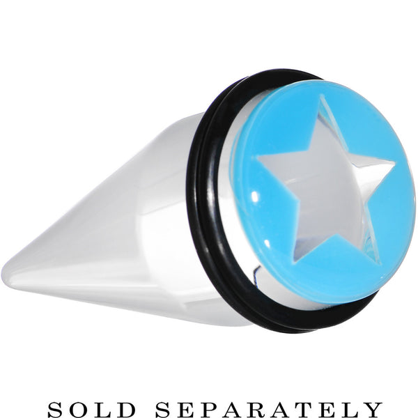 20mm Clear Light Blue Acrylic Wish on a Star Taper