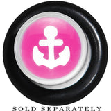 0 Gauge Clear Pink Acrylic Set Sail Nautical Anchor Taper