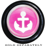 00 Gauge Clear Pink Acrylic Set Sail Nautical Anchor Taper