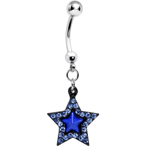 Aqua Gem Blue Center Bellissima Black Star Dangle Belly Ring