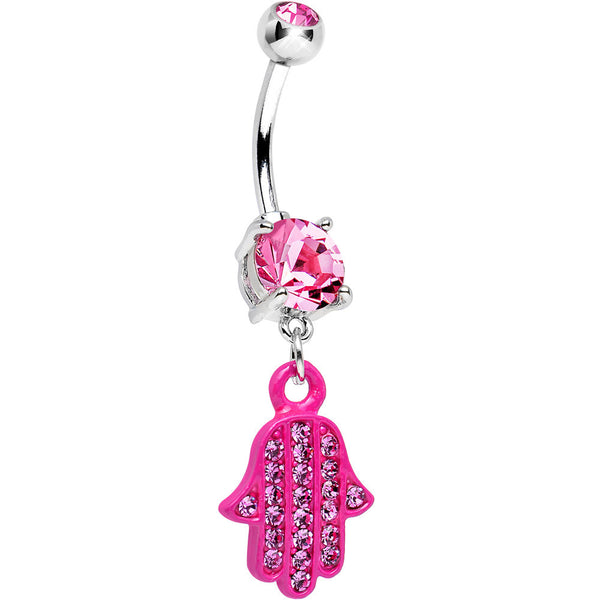 Pink Double Gem Powerful Blessing Pink Hamsa Hand Dangle Belly Ring