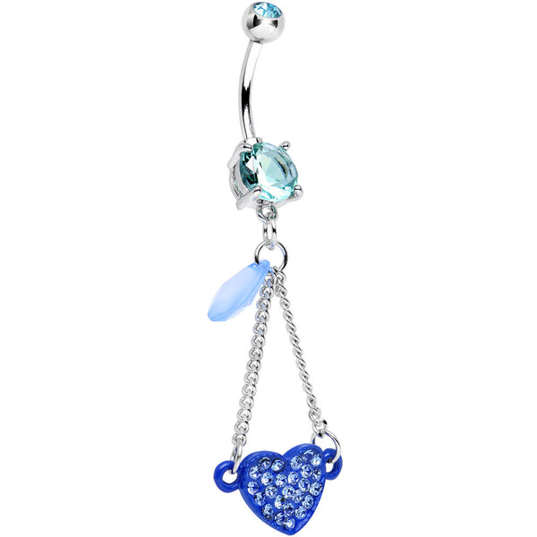 Aqua Double Gem Sparkling Trapeze Swing Blue Heart Dangle Belly Ring