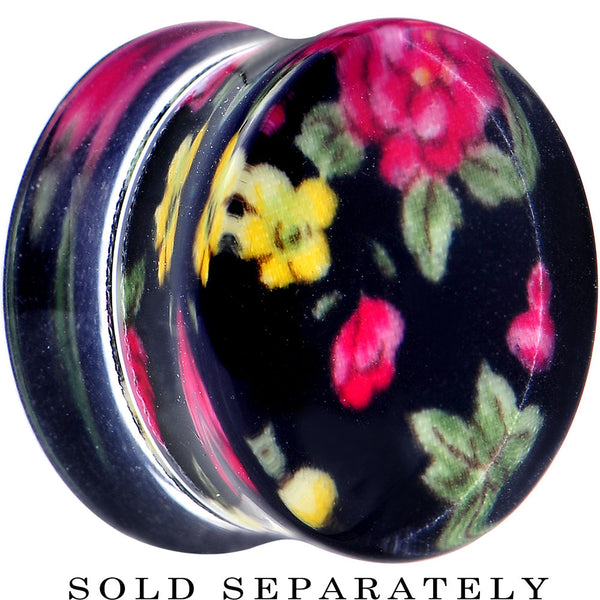 20mm Acrylic Black Multicolored Old Fashioned Flowers Saddle Plug