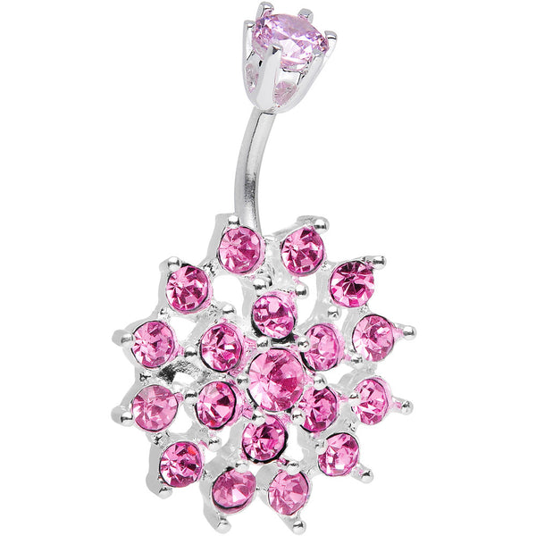 925 Sterling Silver Pink CZ Sparkling Nettle Flower Belly Ring